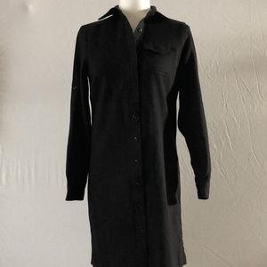 Lands' End Black Wool Shirt Dress Size 4